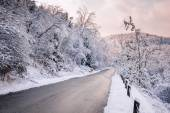 Winter road after snowfall — Stock Photo