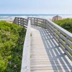 Wooden walkway to ocean beach — Stock Photo #63256735