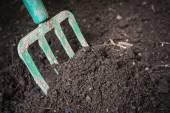 Garden fork turning composted soil — Stock Photo