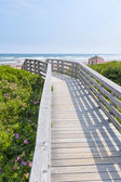 Wooden walkway to ocean beach — Stock Photo