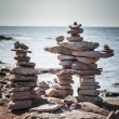 Two stacked stone cairns — Stock Photo #64344931