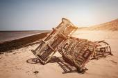 Lobster traps on beach — Stock Photo