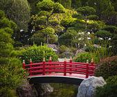Red bridge in garden — Stock Photo