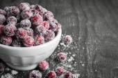 Sugared cranberries  in bowl — Stock Photo