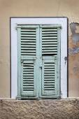 French window with shutters — Stock Photo