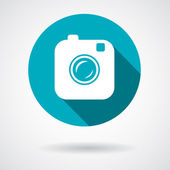Hipster photo or camera icon with long shadow — Vetorial Stock