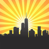 Modern cityscape on Sunburst Pattern — Stock Vector