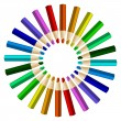 Color pencils in arrange in color wheel colors on white backgrou — Stock Vector #64823903