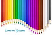 Color pencils in arrange in color row with copyspace — Stock Vector