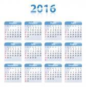 English blue glossy calendar for 2016 — Stock Vector