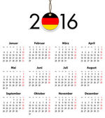 German Solid calendar for 2016 with flag like tag — Stock Vector