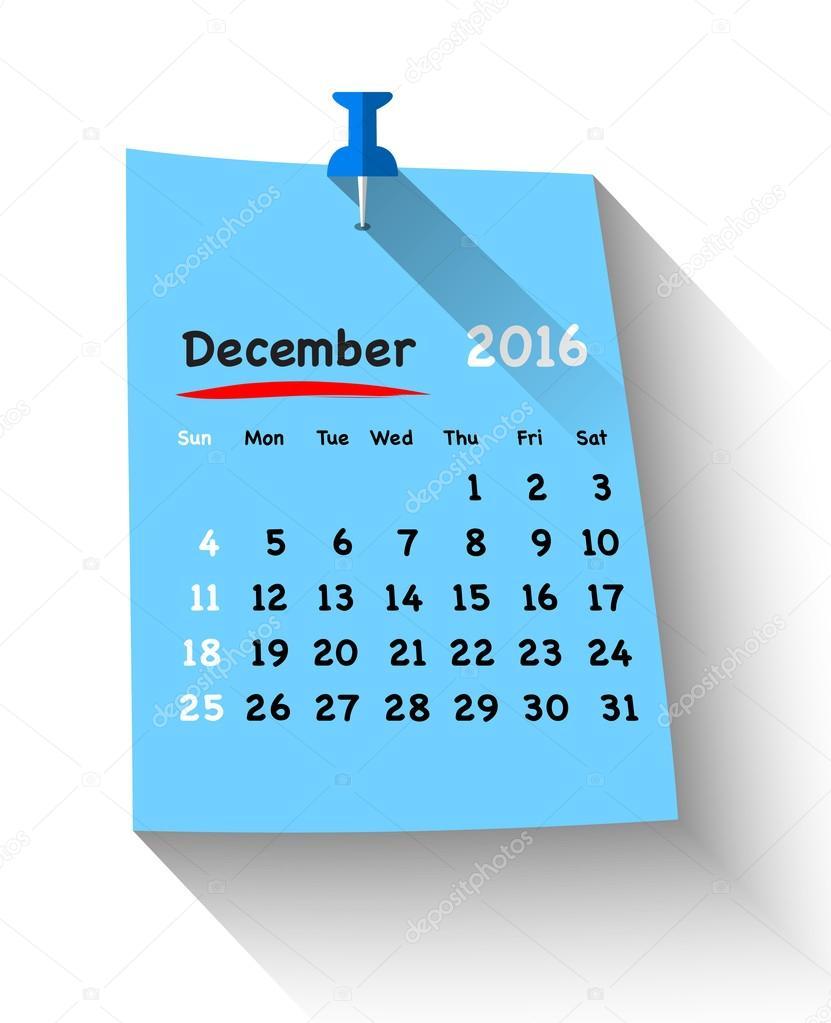 青いピン付き付箋上 2016年 12 月のためフラットなデザインのカレンダー