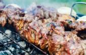 Juicy beef meat on skewers over barbecue — Foto de Stock