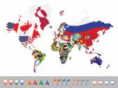World map with flag — Stock Vector