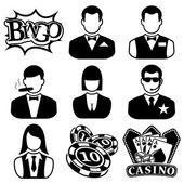 Vektor schwarz casino icons set — Stockvektor