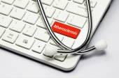 Keyboard, Atherosclerosis text and Stethoscope — Stock Photo