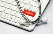 Keyboard, Leukemia text and Stethoscope — Stock Photo