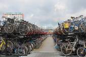 Typical bicycle parking in Amsterdam, Netherlands — Stock Photo