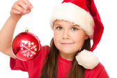 Young happy woman in christmas cloth — Stock Photo