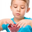 Little boy with raspberries — Stock Photo #56149621