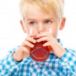 Little boy with glass of cherry juice — Stock Photo #56149739