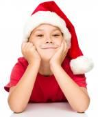 Portret słodkie dziewczynki w santa hat — Zdjęcie stockowe