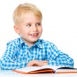 Little child play with book — Stock Photo #59591621