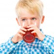 Little boy with glass of cherry juice — Stock Photo #59591651