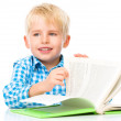 Little child play with book — Stock Photo #60530739