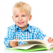 Little child play with book — Stock Photo #60543537