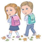 As crianças vão à escola — Vetorial Stock