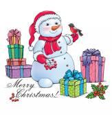 Snowman with Christmas — Stock Vector