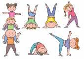 Kids aerobics — 图库矢量图片