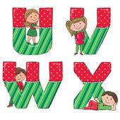 Alphabet kids VWUX — Stock Vector