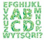 Alphabet green leaves — Stok Vektör