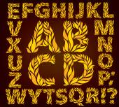 Alphabet  yellow leaves — Stock Vector