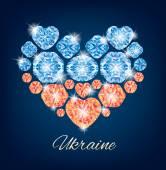 Ukraine heart — Stock Vector