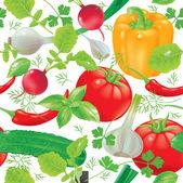Seamless pattern fresh vegetables — Stock Vector