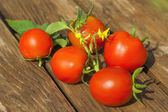 Fresh tomatoes on wooden table — Stock Photo