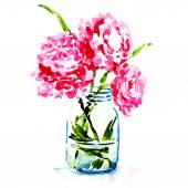 Three pink peonies in vase isolated — Stock Photo