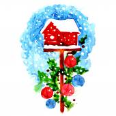 Decorated christmas birdhouse — Stock fotografie
