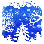 Merry Christmas card, Winter landscape — Stockfoto