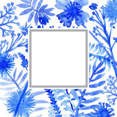 Watercolor flowers frame template card — Stok fotoğraf