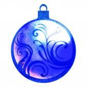 Watercolor christmas ball decoration — Stock Photo