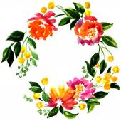 Beautiful greeting card with floral wreath — Stock Photo