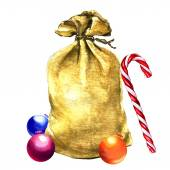 Santa Claus bag with Christmas toys isolated — 图库照片