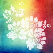 Watercolor painting. Blue, white, pink, yellow gradient with flowers — Stock Photo