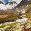 View to snow on Caucasus mountains over clear water stream near  — Stock Photo #65154681
