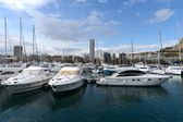 View of Alicante with yachts at sea. — Stock Photo