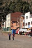 Town of San Pablo on lake Titicaca — Stok fotoğraf